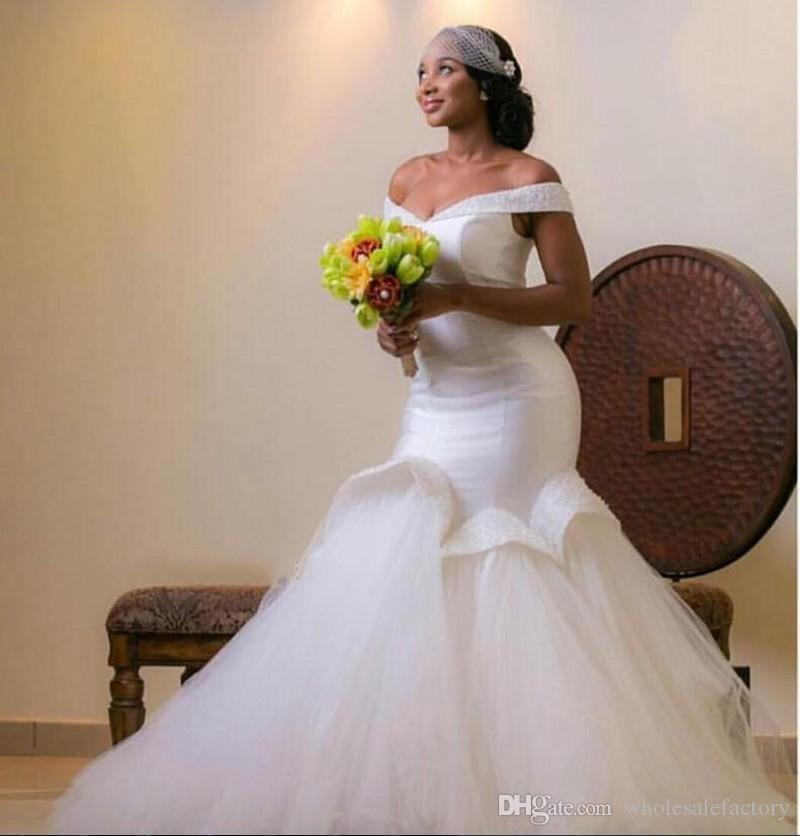 2017 Novo Design Sereia Vestidos de Casamento Fora Do Ombro Tule Trem Da Varredura Em Camadas de Plissados Vestidos de Noiva Branco de Alta Qualidade Vestidos BA1320