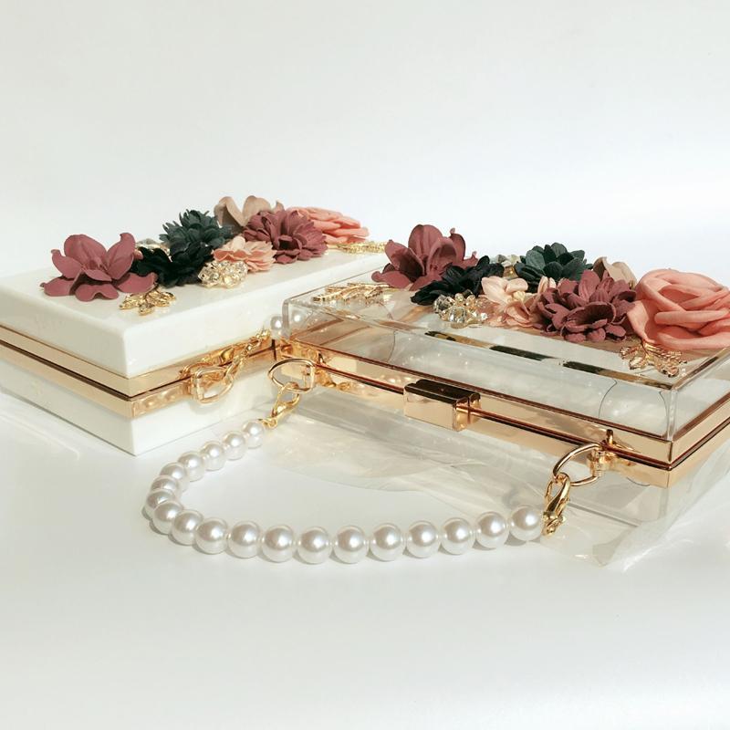 Frauen Luxus Tasche Abendtaschen Hochzeit Perle Blume Kette Schulter Braut Handtasche Crossbody Hard Box Clutch Weihnachtsgeschenk