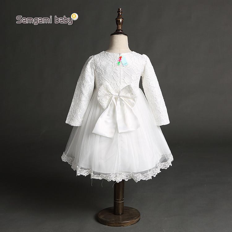 2016 primavera meninas do bebê vestido de renda de manga comprida crianças vestidos de princesa rosa branca menina vestido de baile com grande arco crianças festa tutu saias