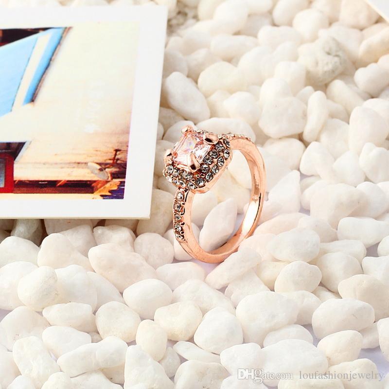 Styles mélangés Luxe plaqué or massif 18 carats cristal Zircon Bague Bague en or de fiançailles mariage amoureux couple Bague anneau semi monture poire ZR106