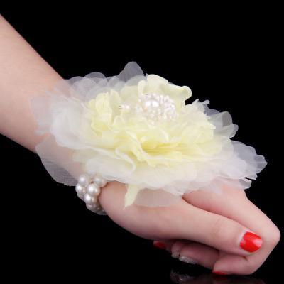 Fashion Bridesmaid Girl Wrist Corsage Handmade Brides Damigella d'onore Bouquet da sposa Bouquet di fiori da polso Corpetti da polso Forniture da sposa
