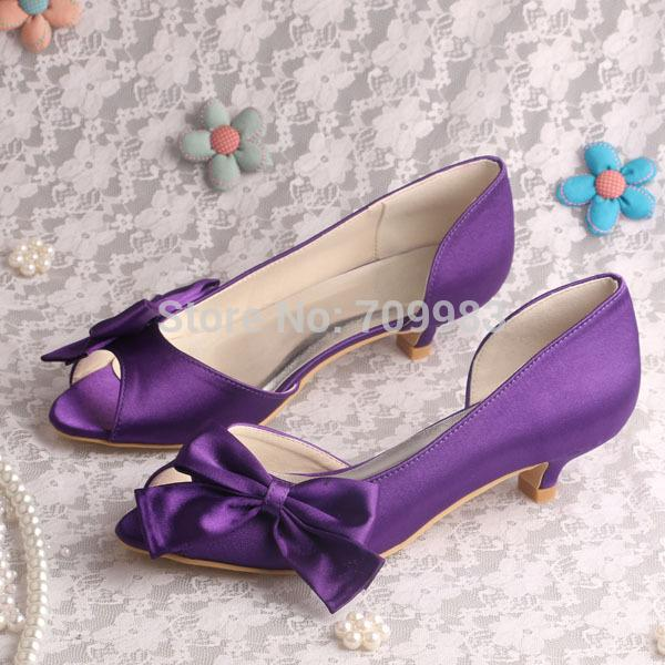 Gentil Wholesale Magic Bride Purple Wedding Shoes Low Heel Open Toe Plus Size 10  Custom Handmade Formal Shoes Cheap Shoes For Women From Feetlove, $59.37|  Dhgate.
