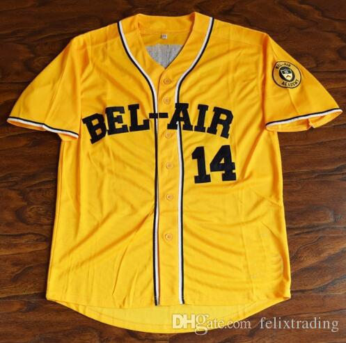 0591be600 2019 Will Smith  14 Bel Air Academy Baseball Jerseys Men Stitched Yellow  The Fresh Prince Of Bel Air From Felixtrading