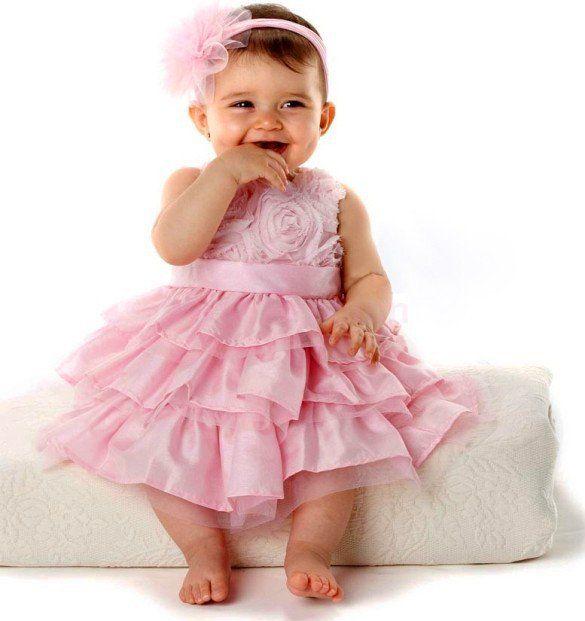 2017 2016 Summer Baby Girls Pink Rose Petal Tutu Dress   Headband ...