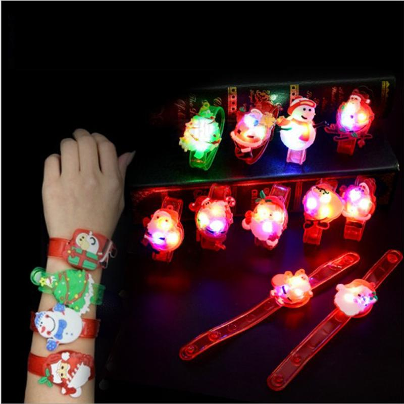 Cartoon LED Night Light Party Xmas Decoration Colorful LED Watch Toy Boys Girls Flash Wrist Band Glow Luminous Bracelets