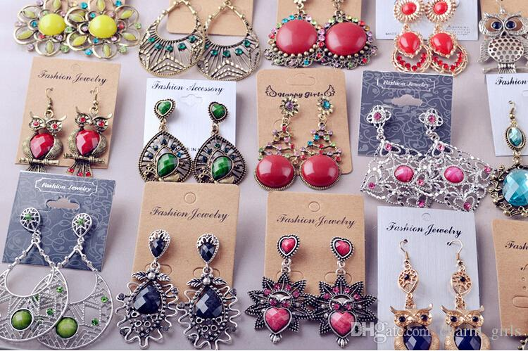 Mistura aleatória 100 estilo 100 Pares / lote de Prata Tibetano Do Vintage / Bronze Resina Gem Moda Brincos brincos atacado Nova moda jóias