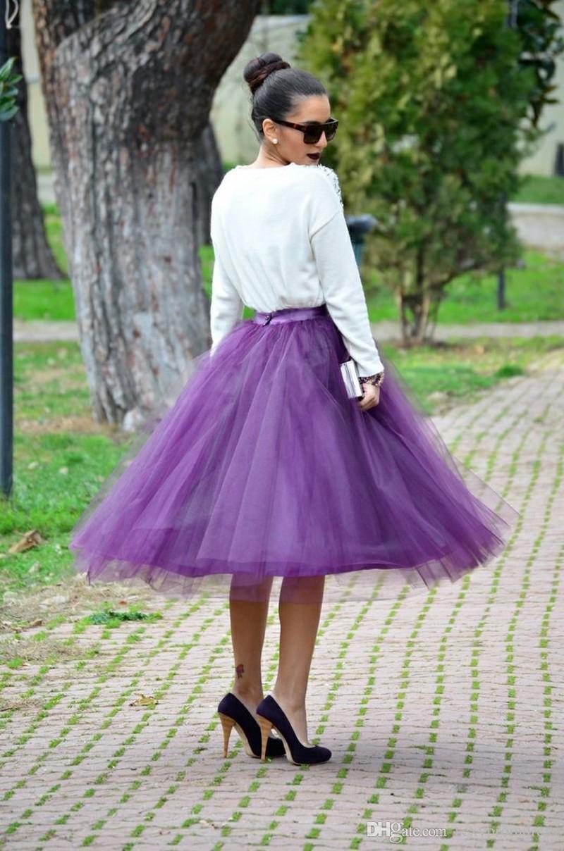 2015 Mor Orta Buzağı Tül Etekler Custom Made Balo Kadınlar Etekler Birçok Katmanlar Parti Elbiseler Ucuz Etekler Kızlar Örgün Parti Elbiseler