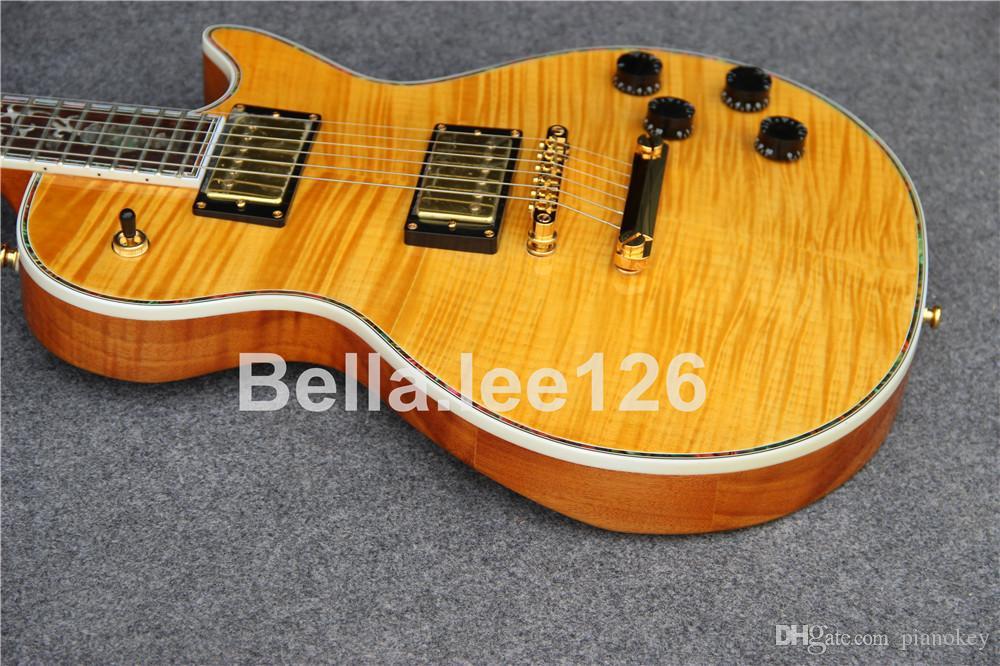 Toptan OEM özel el sanatları Deluxe elektrik gitar, açık sarı alev akçaağaç üst, çin gitar yapımı
