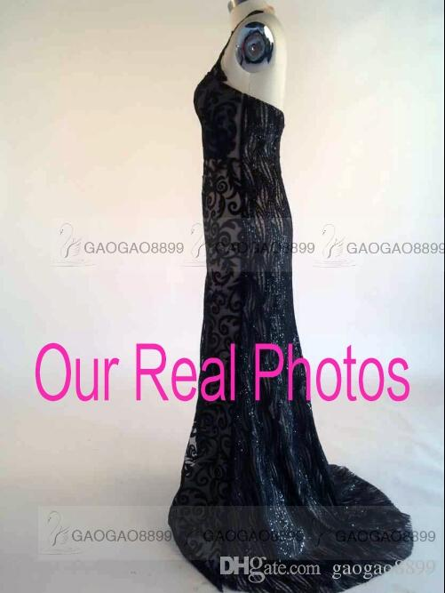 Real Image Mermaid Evening Dresses Rami Salamoun 2019 Sheer High Neck Sleeveless Sweep Train Lace Tulle Split Side Formal Prom Gowns New