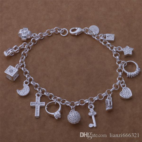 Bästa present Billiga Gratis Frakt Varmt 925 Sterling Silver CZ Crystal Gemstone Fashion Smycken Cross Moon Charms Armband 1000