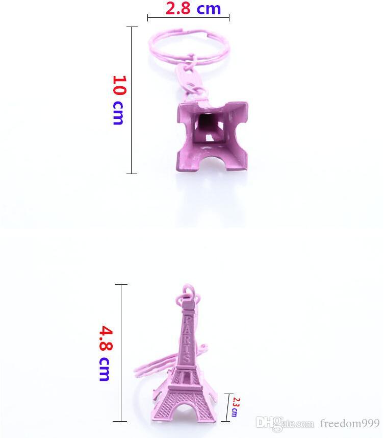 اللون 3D برج ايفل سلسلة المفاتيح الفرنسية فرنسا تذكارية باريس سلسلة المفاتيح مفتاح سلسلة مفتاح حامل كيرينغ 10 الألوان