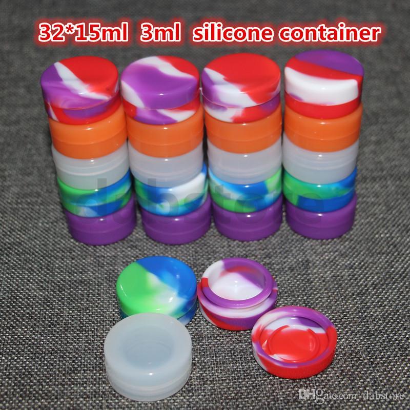 도매 3mL 32 * 15mm 컨테이너 실리콘 왁스 오일 컨테이너 실리콘 항아리 왁스 농축 왁스 컨테이너 무료 배송 DHL