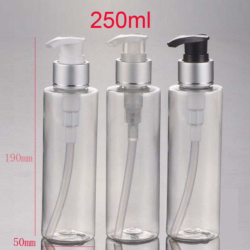 250ml X 20 Empty Shampoo Lotion Dispenser Pump Bottles ,PET Clear Shower  Gel Cylinder Bottle With Lotion Pump Packaging