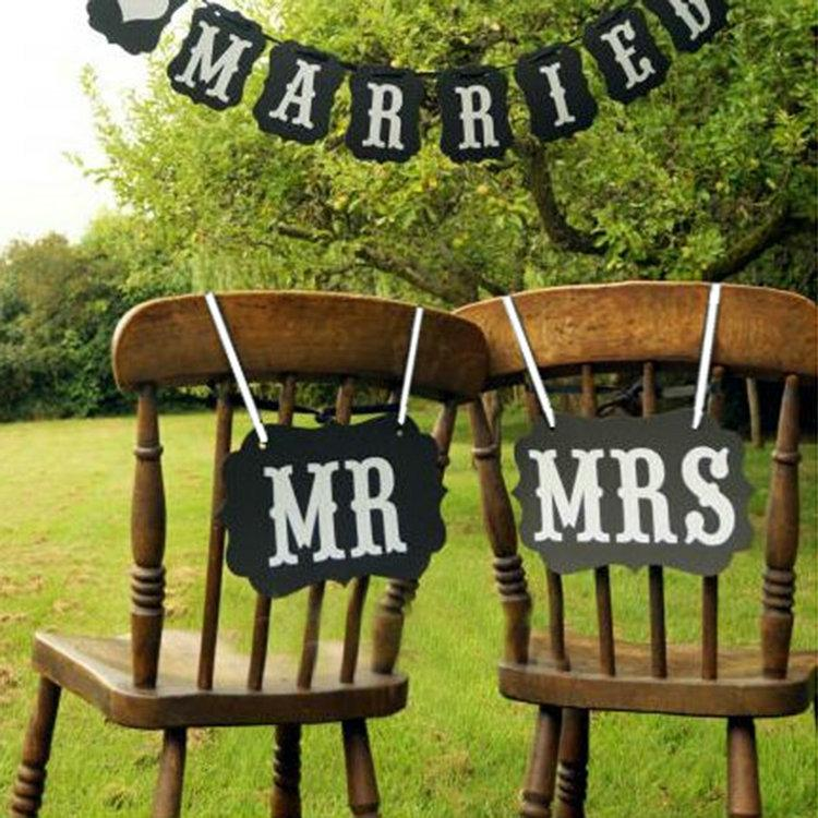 Diy Black Brown Mr Mrs Paper Board Ribbon Sign Photo Booth Props Wedding Decoration Party Favor Opp Bag Best Decorations Cheap