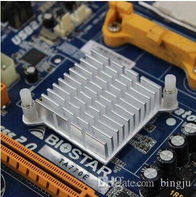 Atacado-5 pçs / lote LED IC prata dissipador de calor para Chip CPU computador norte ponte refrigeradores de alumínio radiador dissipador de calor 40 x 40 x 13 mm
