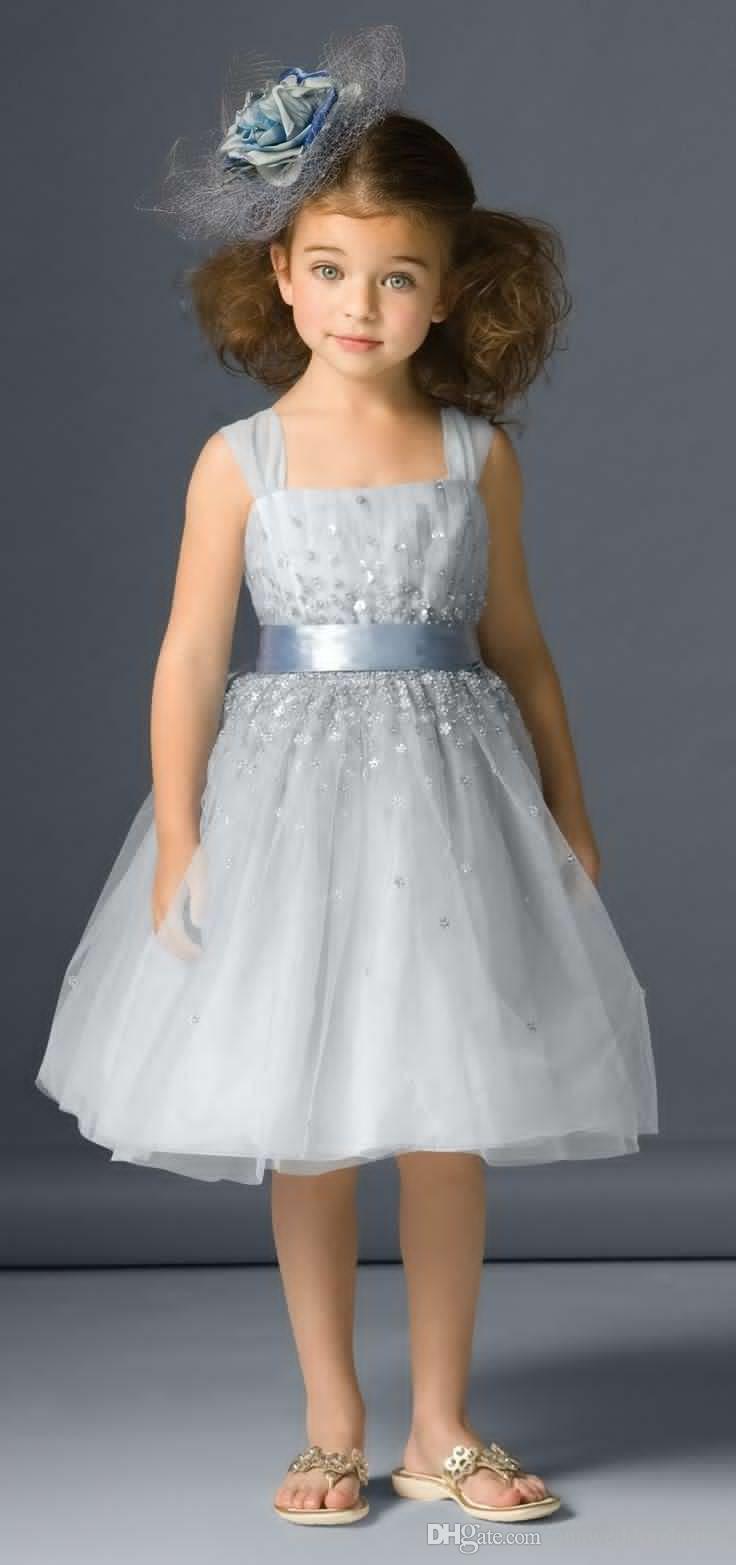 Abalorios glitz concurso dresse vestido cuadrado hasta la rodilla Flower Girl niñas desfile vestido Tutu niños comunión vestido para la boda