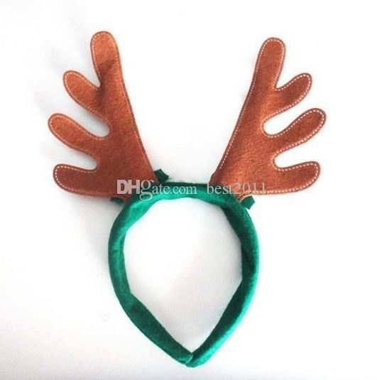 Meninos Meninas Decoração de Natal produtos para festas de cabelo Objetos de festa de renas Chapéu de Santa Chapéu de Natal Casco de Natal Verde Vermelho Castanho cor