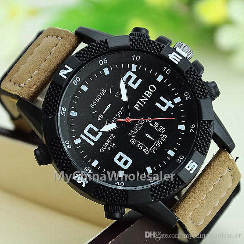 New arrival Men Sports Fashion Watch Big Dial with a small square dial scaled Canvas WristBand Men Watches Wrist watches for Mens Watch