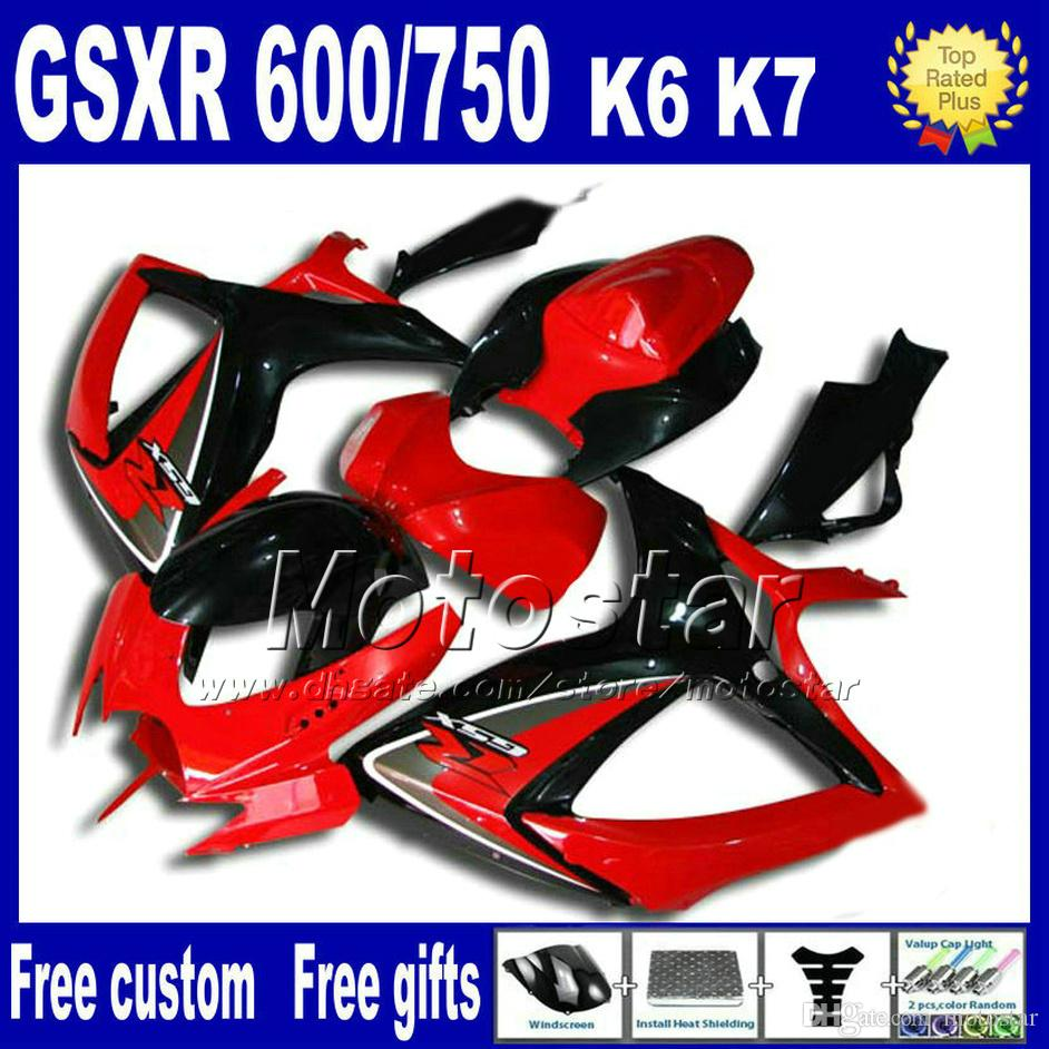 Motorcycle fairing kit + Seat cowl for GSXR 600/750 2006 2007 SUZUKI GSX-R600 GSX-R750 06 07 K6 red black fairings sets FS91