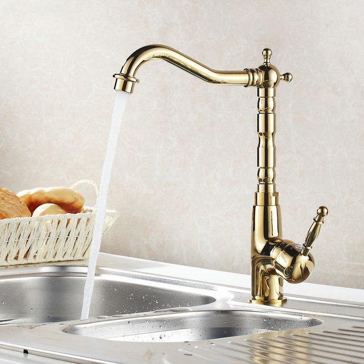 360 Rotating Gold Polished Kitchen Faucets Hot Cold Mixer Tap Brass ...