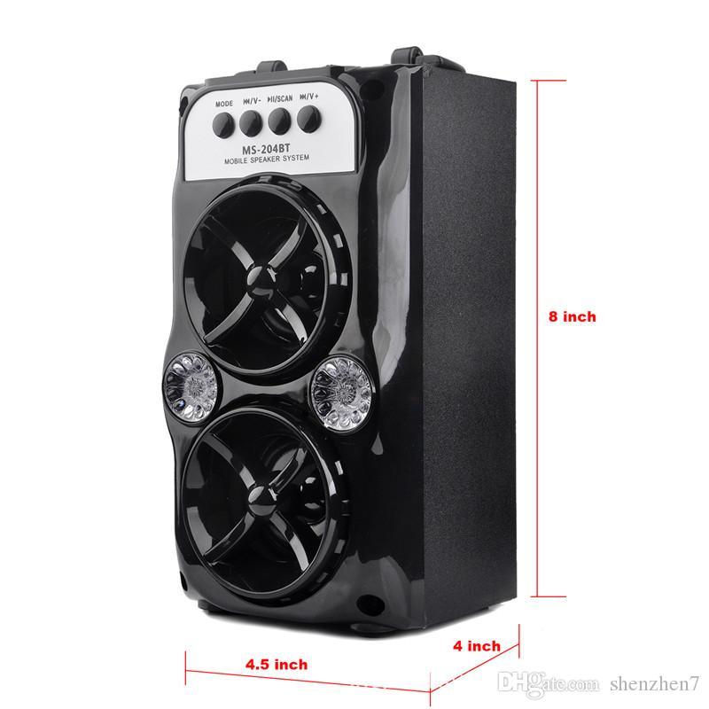 Lautsprecher MS-204BT LED Drahtlose Bluetooth-Tragbare Lautsprecher mit USB-TF AUX-FM-Radio Außen Super Bass Schwarz MIS167