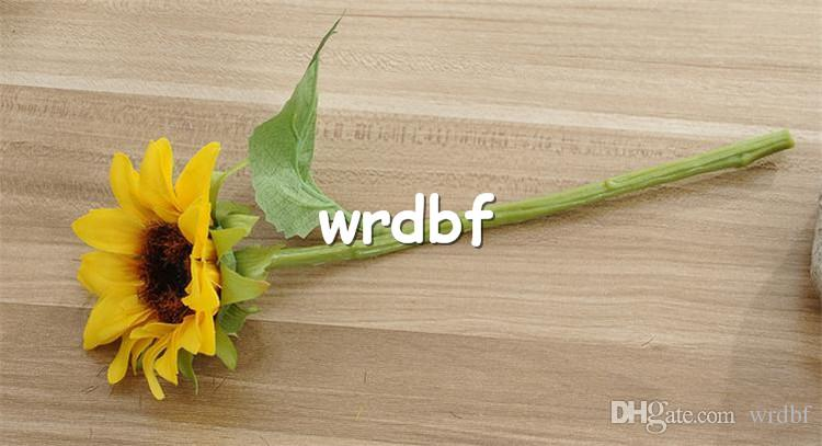 "HOT Silk Single Stem Sunflower 22cm/8.66"" Length Dia. 8cm/3.15"" Artificial Flowers Yellow Color Sunflowers for DIY Bridal Bouquet"