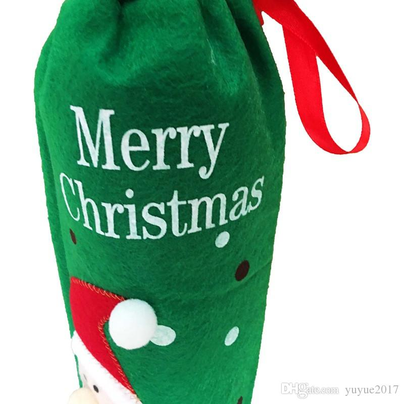 2017 Red Wine Bottle Bags Christmas Decorations Gift Party Best Gift for Xmas Bar Red Wine Bottle Cover Bags DHL