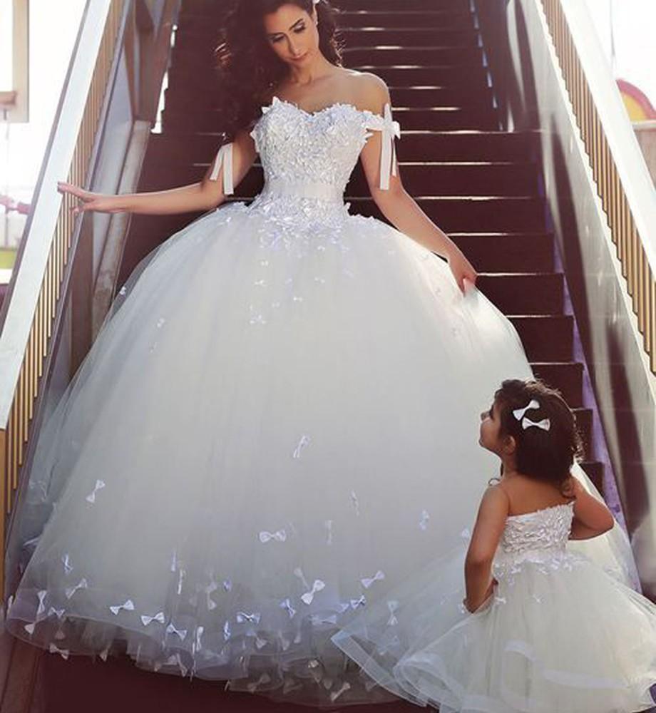 Princesa Vestido de bola Vestidos de novia Blanco Sheer Tulle 2015 Vestidos de Novia con hombros descubiertos Longitud de piso personalizada Arco blanco Vestidos de novia