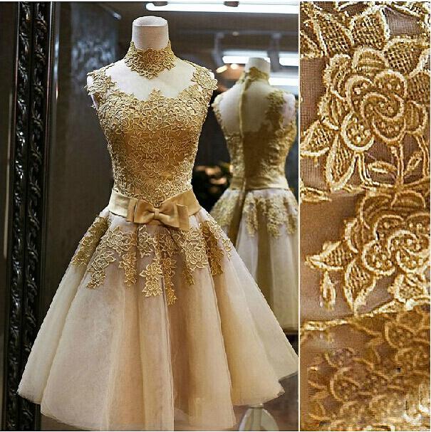 Vintage High-neck Lace A-Line Bowknot Kortlängds cocktailklänning Unik brudtärna klänning