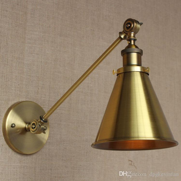 Retro Industrial Golden Adjustable Swing Arm Ceiling light Wall lamp Fixture Sconce Iron America Country Wall Light