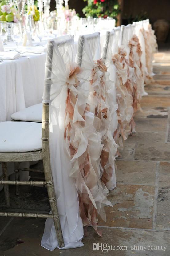 Organza Ruffle Graceful Beautiful Mediterráneo Clásico Pastoral Suministros para la boda Decoraciones Silla Fajas New Coming Special Chic