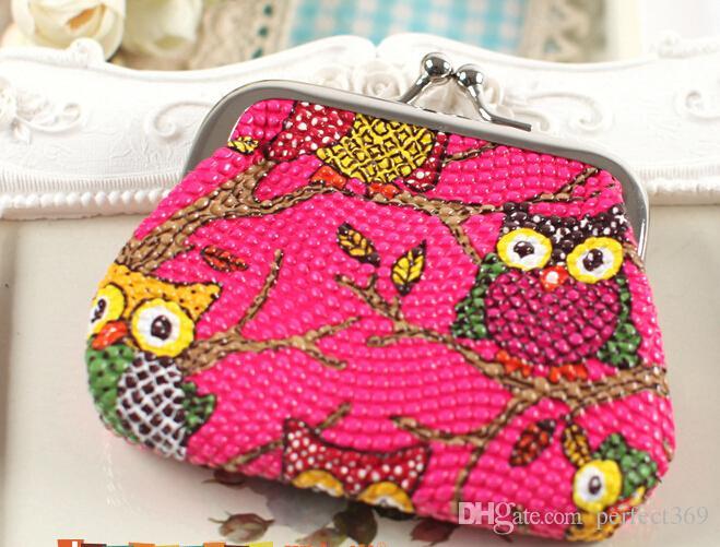 Hot mode Styliste Multichoice Couleur Owl Patten PU Femmes Filles Coin Argent Sac Bourse Bourse pas cher Livraison gratuite