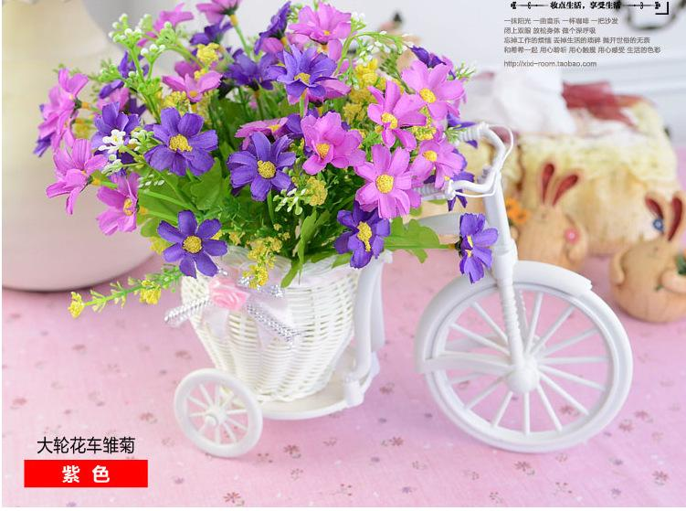 Vases White Tricycle Bike Design Flower Basket Storage Container Party Weddding Decoration Home Decor knit Bike Photo props background