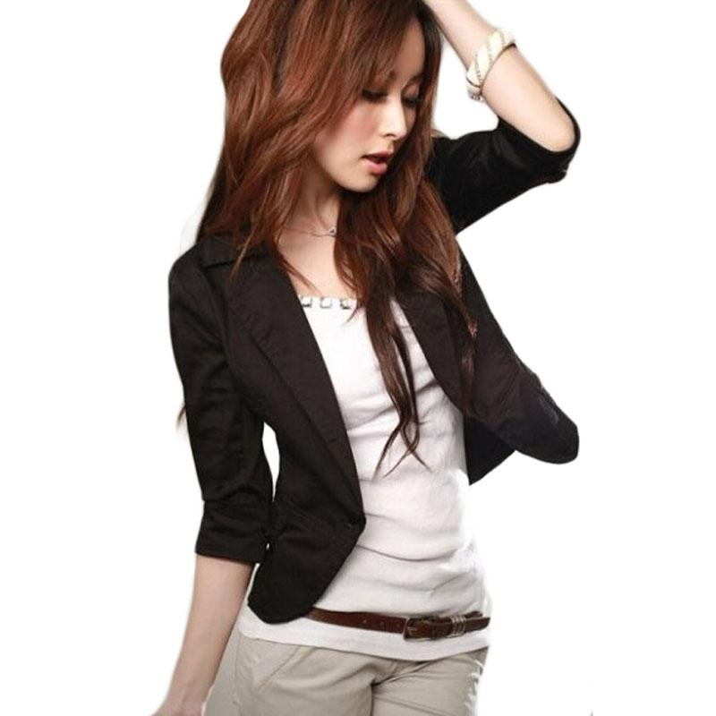 Nuevo temperamento delgado traje pequeño chaqueta de manga tres cuartos  Outwear Blazer casual de mujer Talla grande Blazer Chaqueta femenina