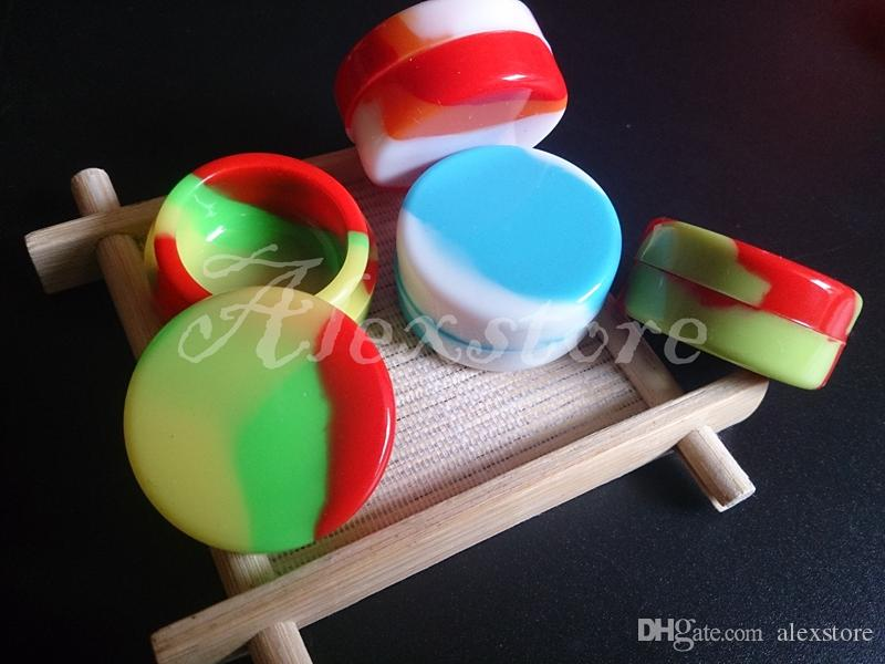 Small Round Colorful Containers silicone box Silicon container dabber 32*15mm 3ml food grade wax jars dab storage rubber FDA Custom for vape