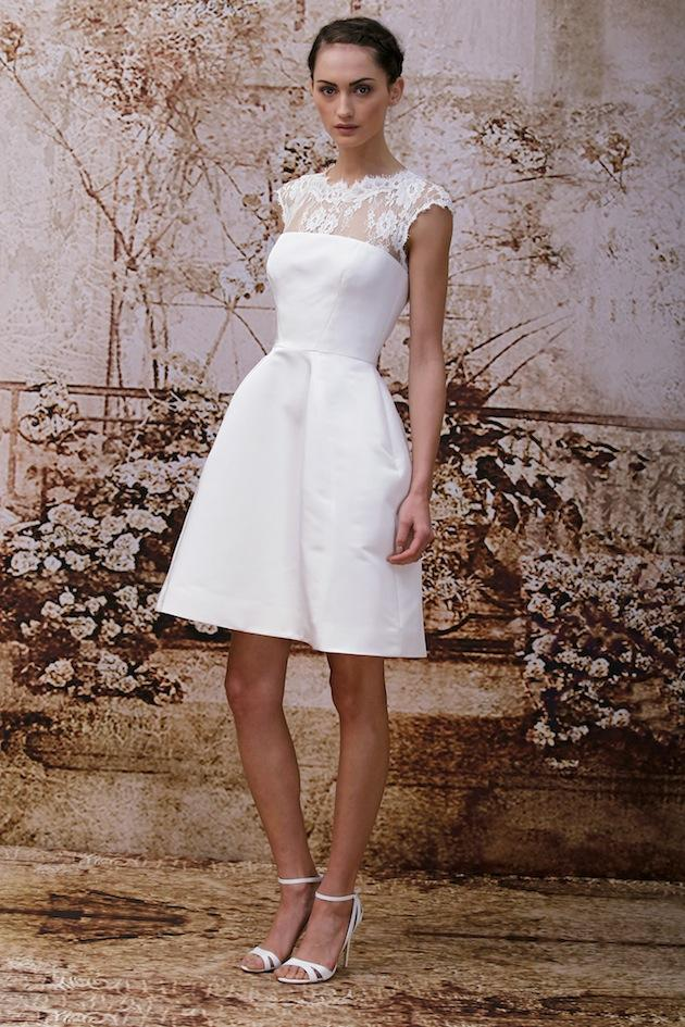 KRIKOR JABOTIANショートレースのウェディングドレスホワイトアイボリーサテンの背中の膝の長さラインレースのウェディングドレス