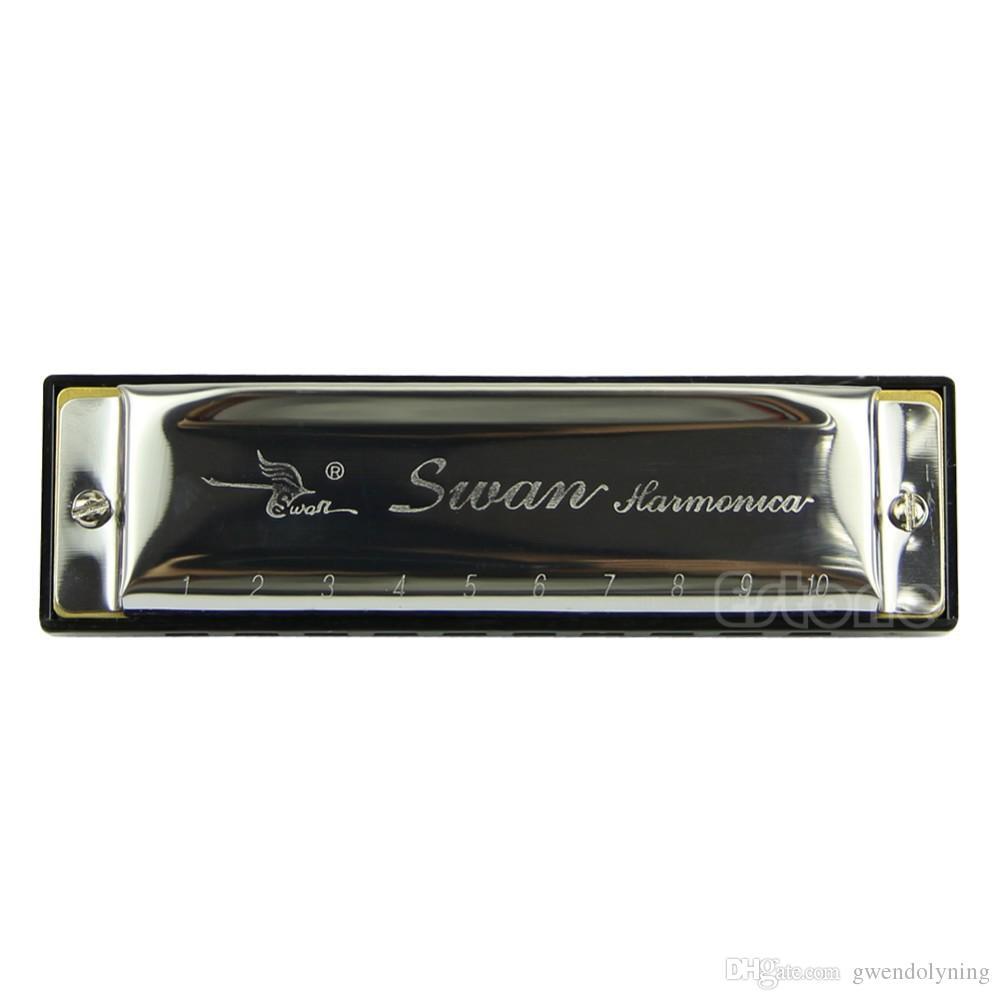 Silver Swan Harmonica 10 Hole Key of C for Blues Rock Jazz Folk Harmonicas New