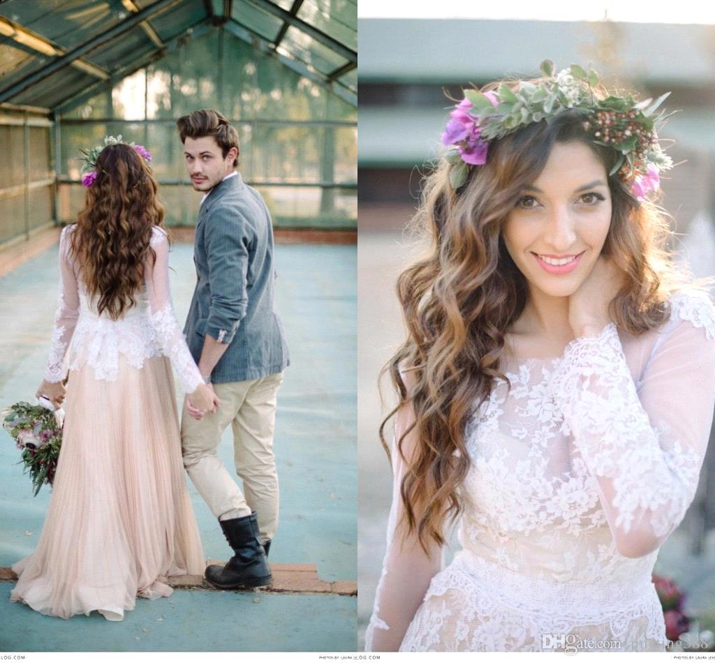 Discount 2016 winter bohemian wedding dresses champagne a line discount 2016 winter bohemian wedding dresses champagne a line long sleeves sheer neckline lace pregnant bridal gowns custom made dress a line wedding gown ombrellifo Gallery