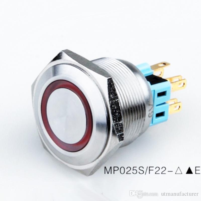 ملاك معدنية خاتم عين LED المخرب إثبات الإغلاق زر، 12V سيارة للماء IP67، momentarty الفولاذ المقاوم للصدأ الإسكان على الخروج 24V أدى switc