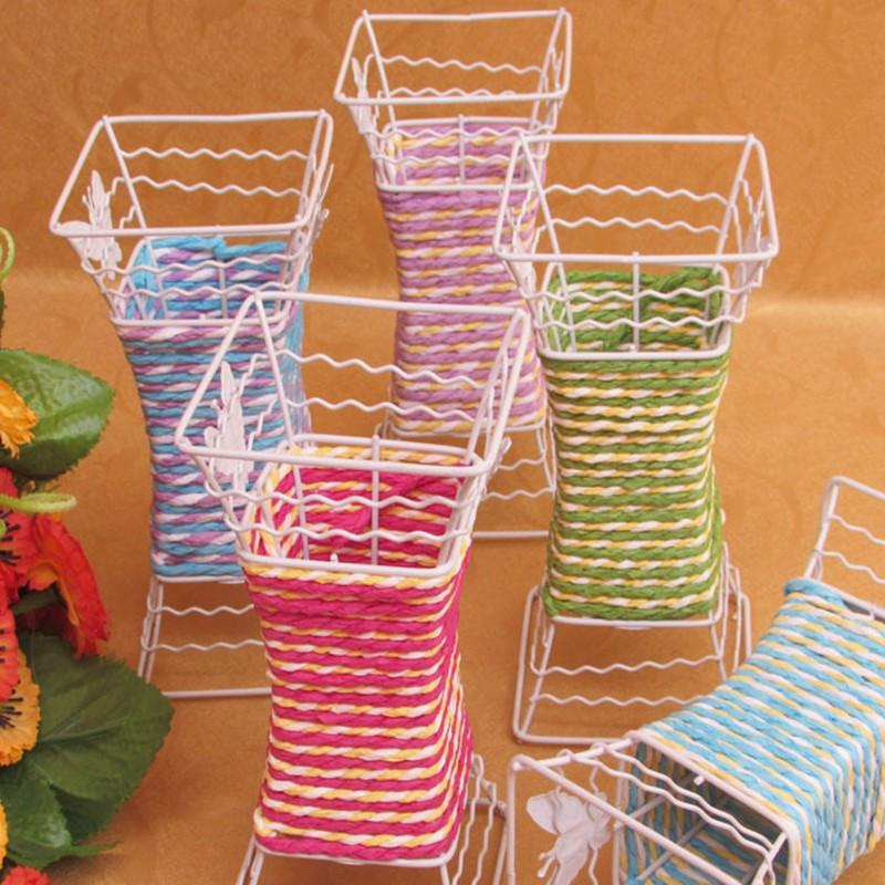 Best Pastoral Style Color Rope Braided Vase Handmade Square Wedding Party  Home Decorating Vase For Aritificial