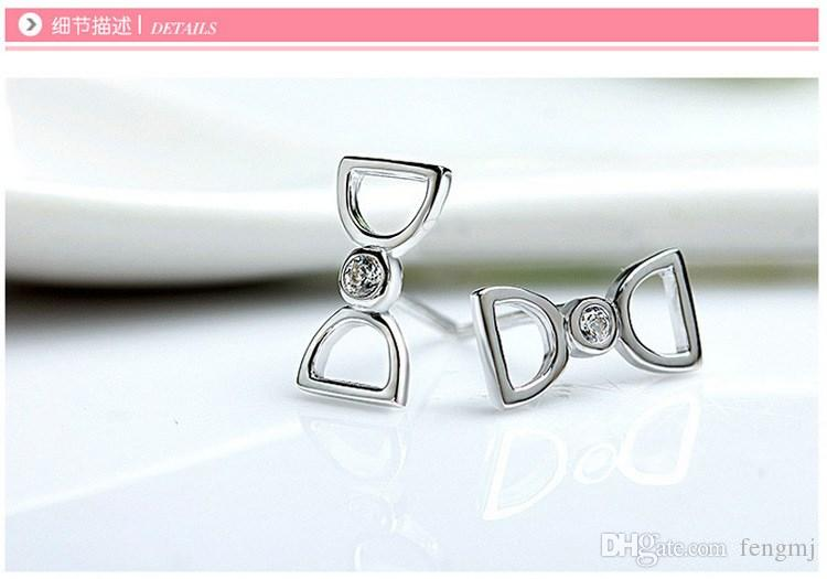 Fashion Star Jewelry 925 Sterling Silver Double D letter earrings crystal woman fashion jewelry