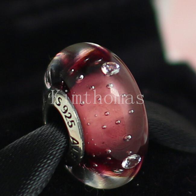 Perline sfaccettate fai da te a mano in vetro di Murano 925 sterling argento viola effervescente perlina in vetro di Murano adatto ai braccialetti europei Pandora