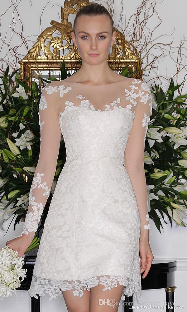 Stunning Short Long Sleeves Wedding Dress Sheer Neckline Lace Appliqued Bridal Gowns Cheap High Quality Formal Party Wear