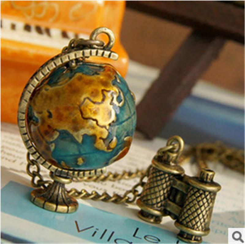 Pendant Necklaces Fashion Design Retro Globe Telescope Ball Necklace Sweater Chain Jewelry For Women Vintage World Travel Journey Jewellry