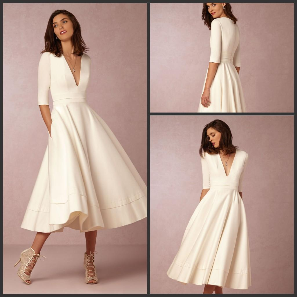 Vintage A Line Wedding Dresses: Discount 2016 Vintage Satin White A Line Wedding Dresses 1