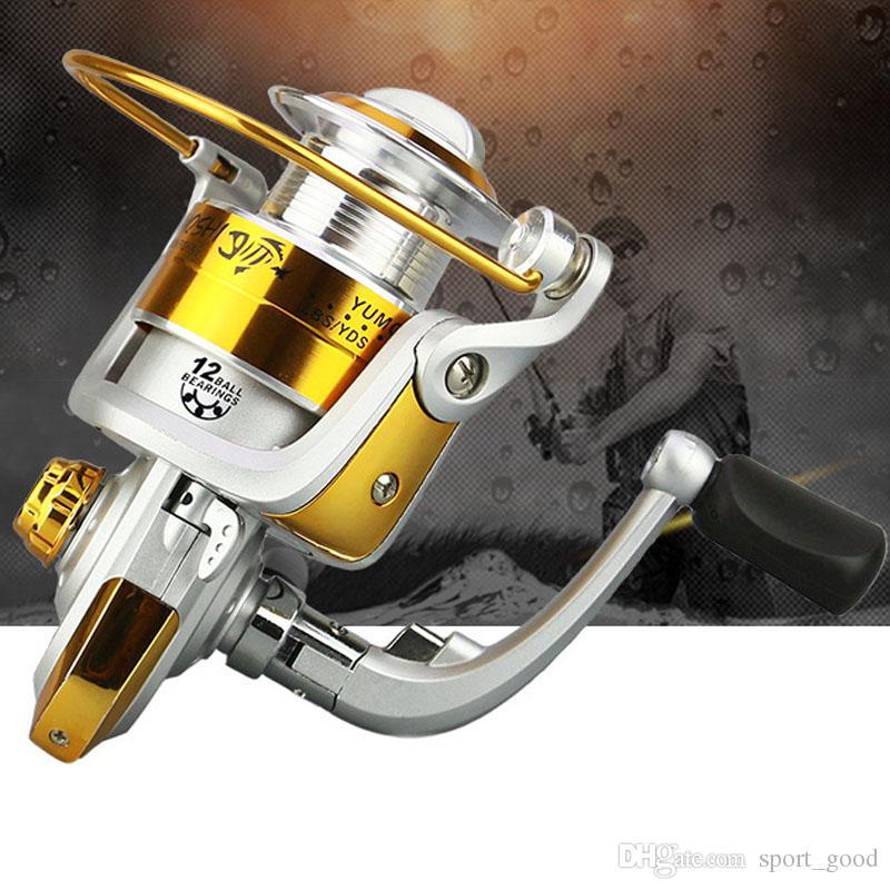 Hochwertige Easy Folding Rocker Metal 1000-7000 Serie 12BB Angelrollen Spinning Metal Spool Reel Rad für Fische