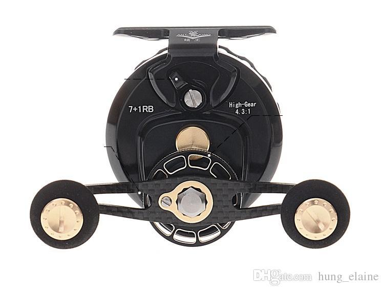Nivel superior RA6C full metal izquierda / derecha balsa carrete de pesca 7 + 1RB ronda de fibra de carbono balsa de pesca rueda de arrastre carrete de pesca engranaje relación de transmisión 4.3: 1