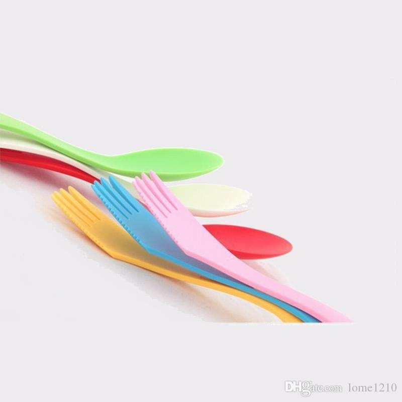 Plastik Kaşık Çatal-Açık Spork Mutfak Aletleri 6 Renkler Karışık