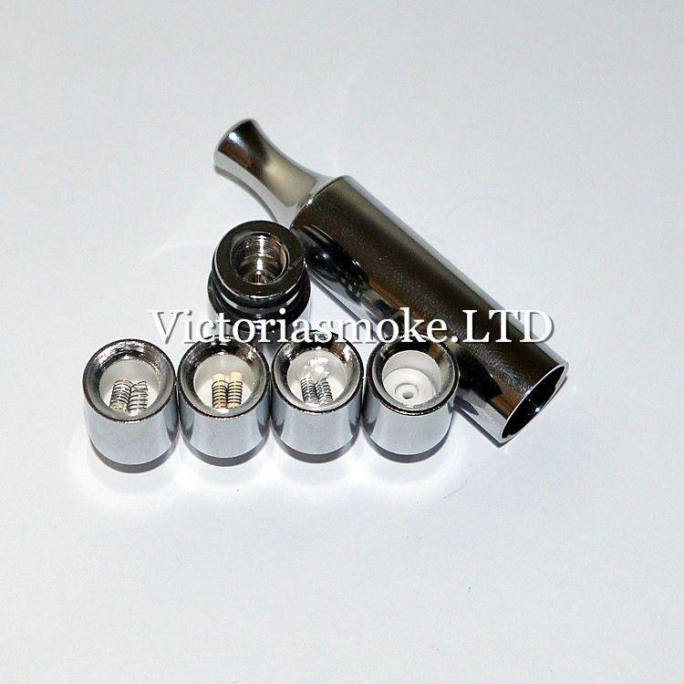 Ny ankomst T2 Metal Atomizer vaxförångare med metall droppspets rak rör Dual Quartz Keramisk stång Bomull Donut Replacement Coils Ecigs