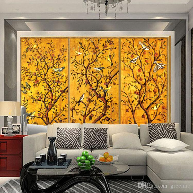 Vintage Wallpaper Custom 3D Wall Murals Bird & Flower Painting Photo ...